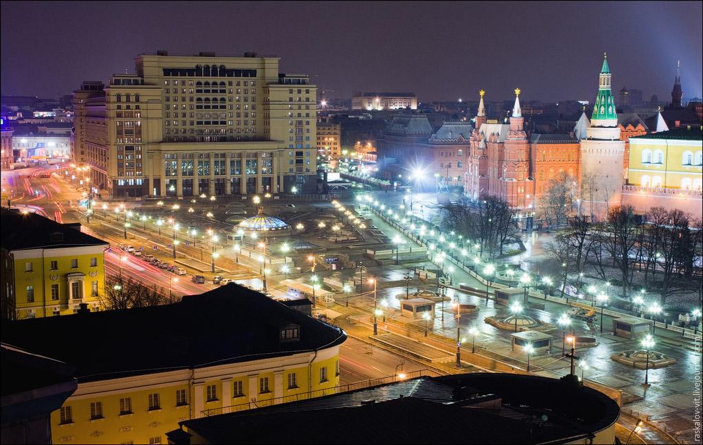Москва и исторический музей вид с