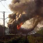 На горной станции загорелся поезд