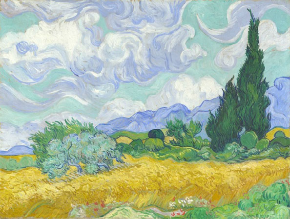 Картина Винсента Ван Гога - Пшеничное поле с кипарисами