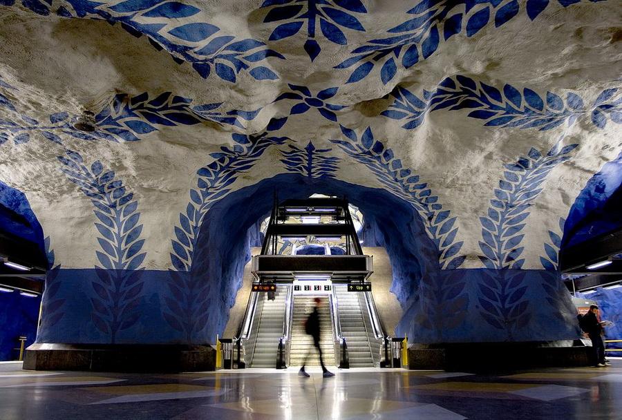 Метро Стокгольма - синяя роспись