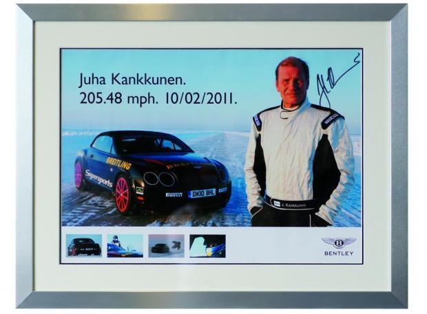 Фотография Juha Kankkunen с личным автографом - рекорд скорости на льду 205.48 миль в час 10 февраля 2011 года, Bentley Continental Supersports Convertible