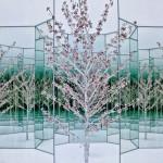 Вишневое дерево - посеребренная проволока, китайские юани