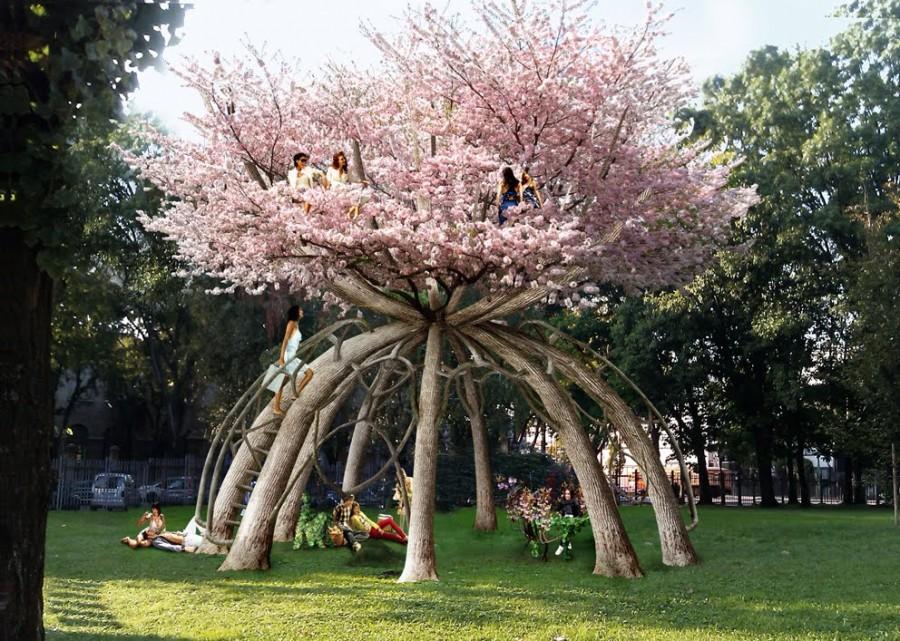 Будущая вишневая беседка в Миланском Политехническом Университете