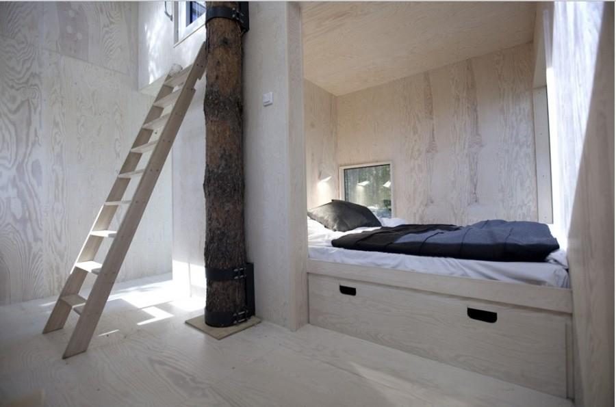 Номер с двуспальной кроватью, гостиная, ванная, терраса на крыше, отделка березой