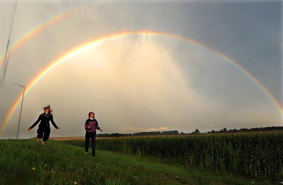 Двойная радуга в Белоруссии, август 2011 года