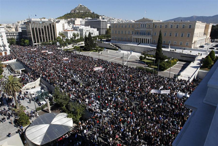 Начало 48-часовой забастовки в Греции, площадь Синтагма, Афины