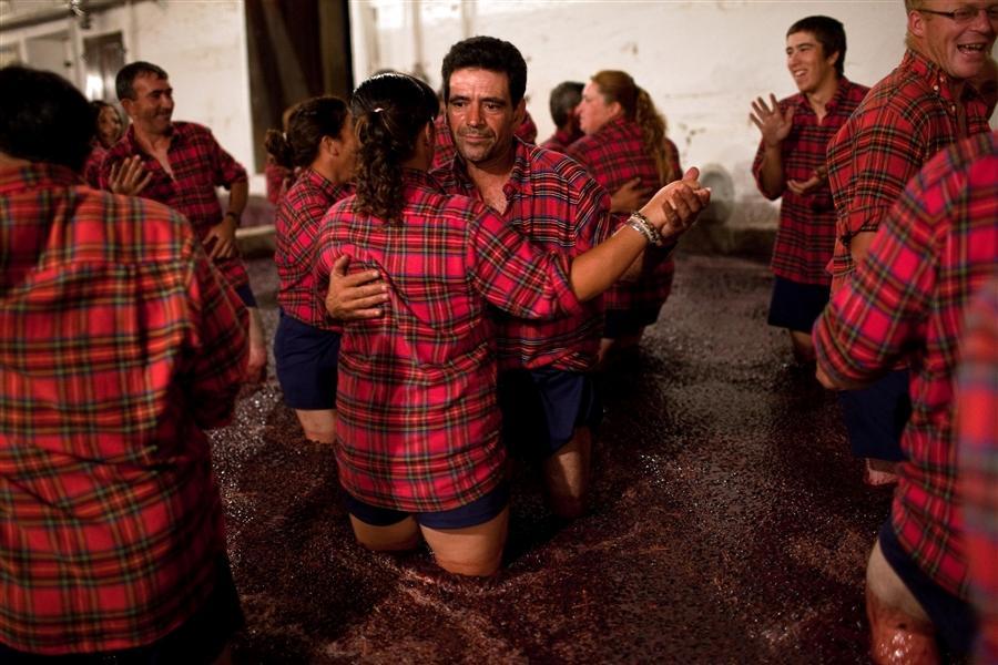 Сборщики винограда в Португалии танцуют прекрасный танец, раздавливая свежие виноградины