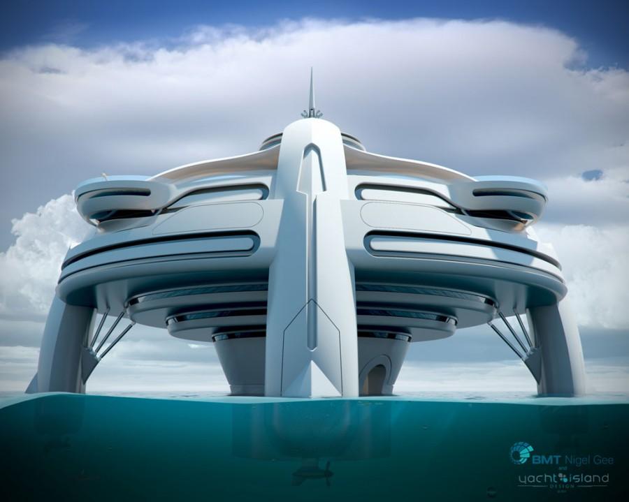 Проект плавающего острова Utopia от архитектурной студии Yacht Island Design и консалтинговой компании BMT Nigel Gee
