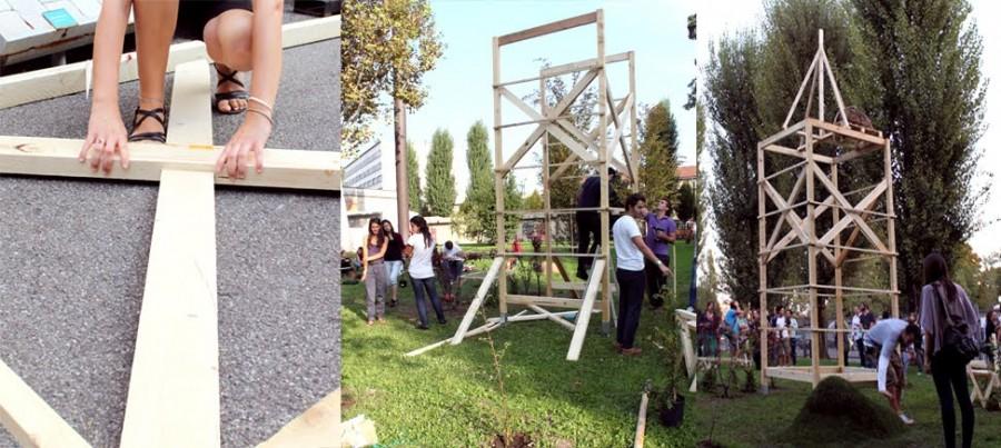 Сегодняшние студенты закладывают основу конструкции для будущих студентов - дизайнеров и садовников