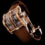 Часы шоколадно-коричневого цвета с драгоценными камнями 2LMX