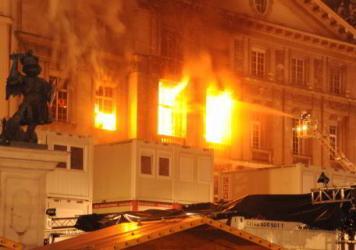 Крупный пожар в центре Вены