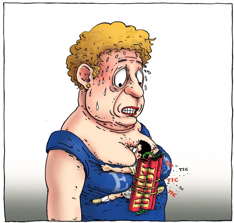 Карикатура Joep Bertrams - Семейные узы Европы, долговой кризис Греции угрожает всей Еврозоне