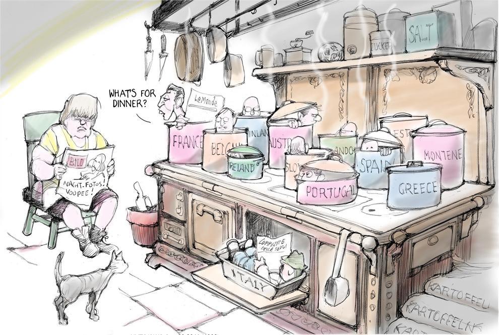 Ангела Меркель на своей европейской кухне, карикатурист Джефф Данзигер