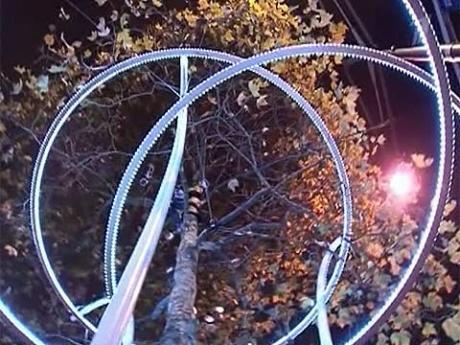 Светодиодные кольца вокруг деревьев