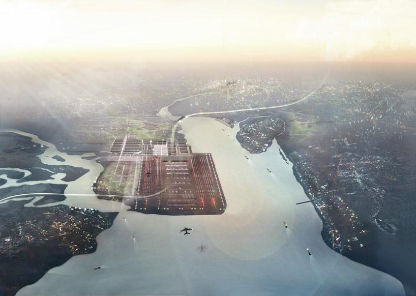 Аэропорт в устье Темзы, с пропускной способностью 150 млн. пассажиров в год