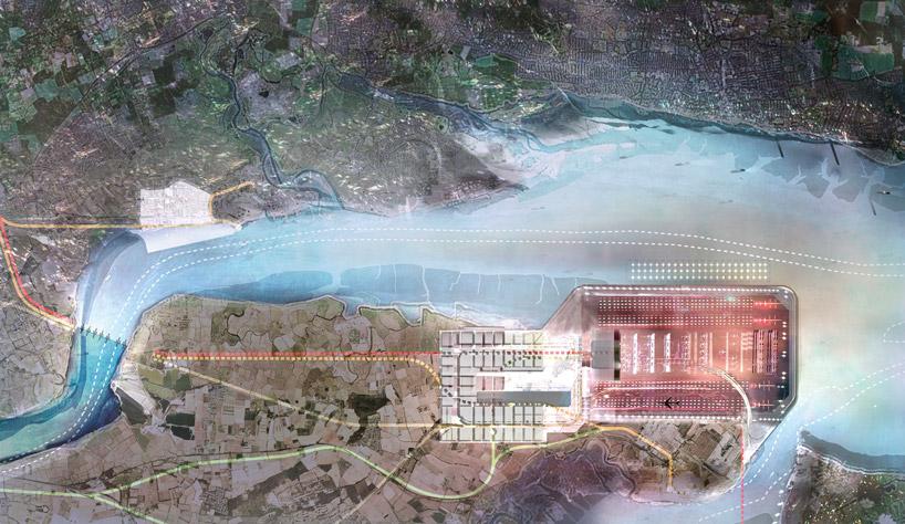 Аэропорт, водные барьеры, подъездные железнодорожные пути на на Темзе