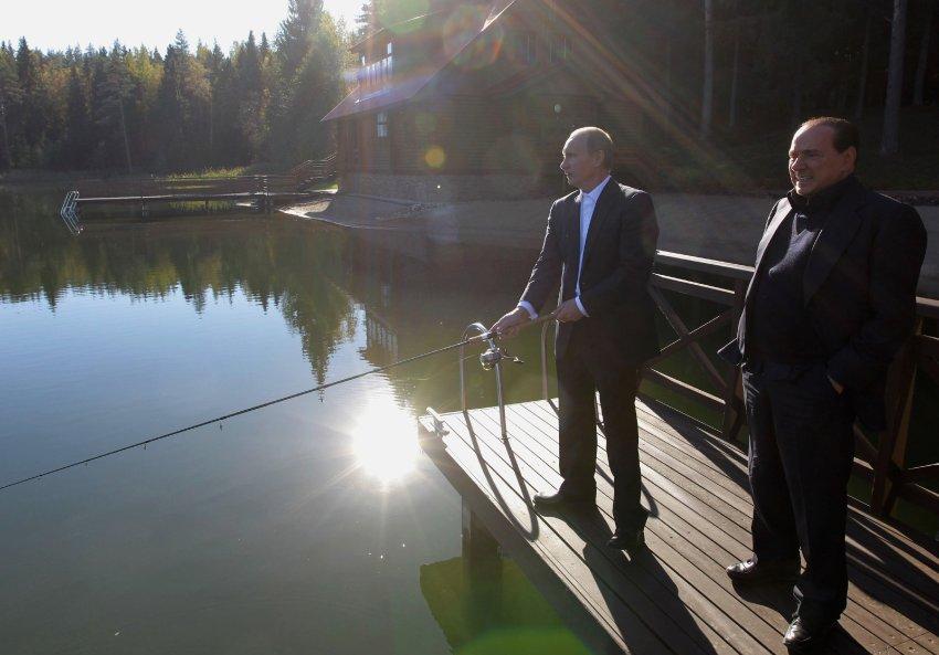Совместная рыбалка в резиденции Путина под Санкт-Петербургом в 2010 году