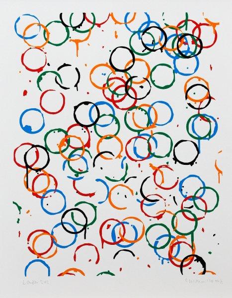 Плакат Рейчел Уайтрид, Олимпийские кольца, сделанные кофейными чашками