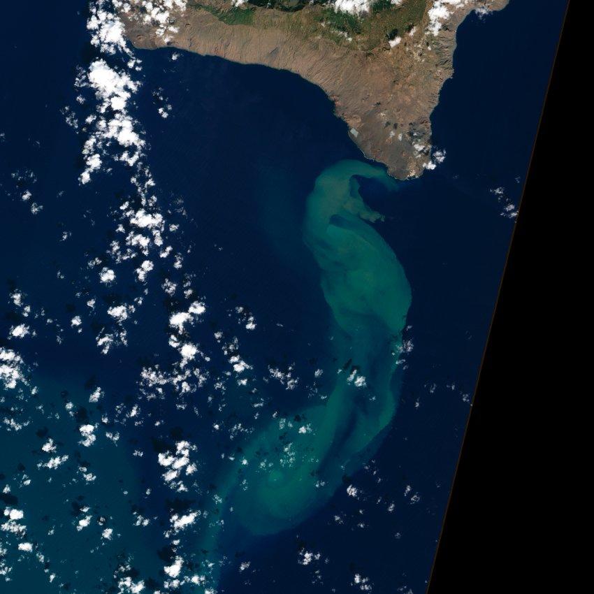 Спутниковое изображение места извержения