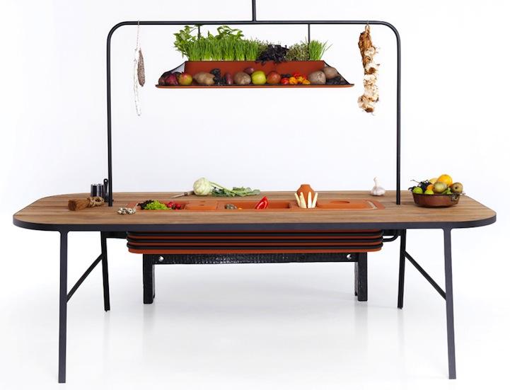 Второй уровень кухни для выращивания зелени и хранения продуктов