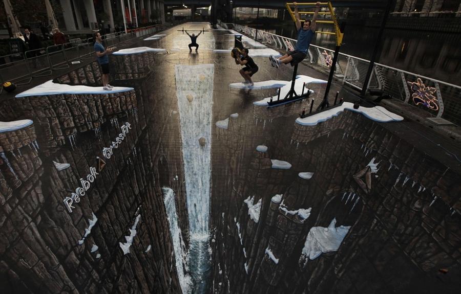 Художник Джо Хилл сделал 3D рисунок на улице в Canary Wharf в Лондоне площадью  9601 квадратных футов