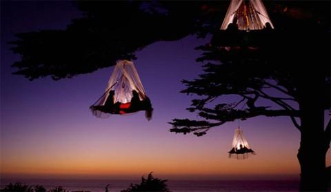 Туристы спят на платформах, висящих в нескольких метрах над землей