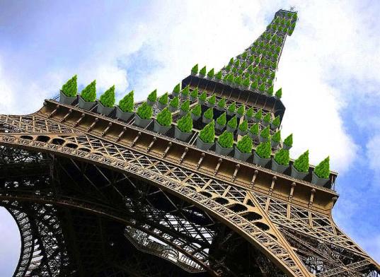 достопримечательности Франции. Эйфелева башня в Париже может стать покрыта зеленью