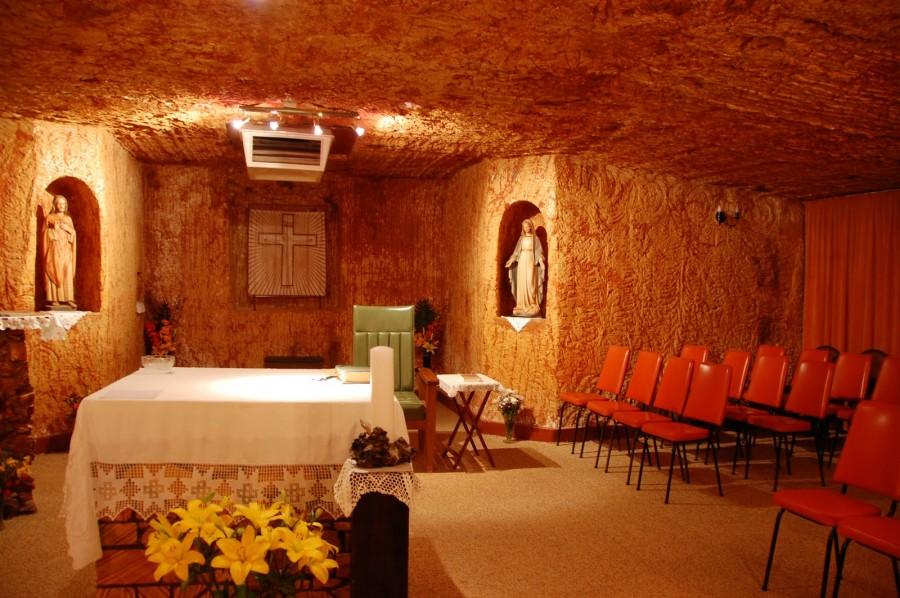 Церковь тоже располагается под землей