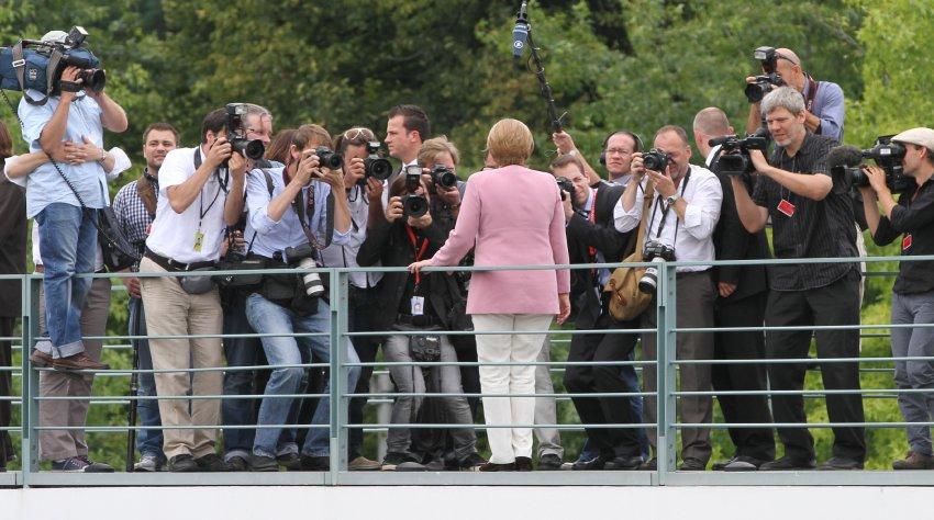 Ангела Меркель перед журналистами, август 2011 года