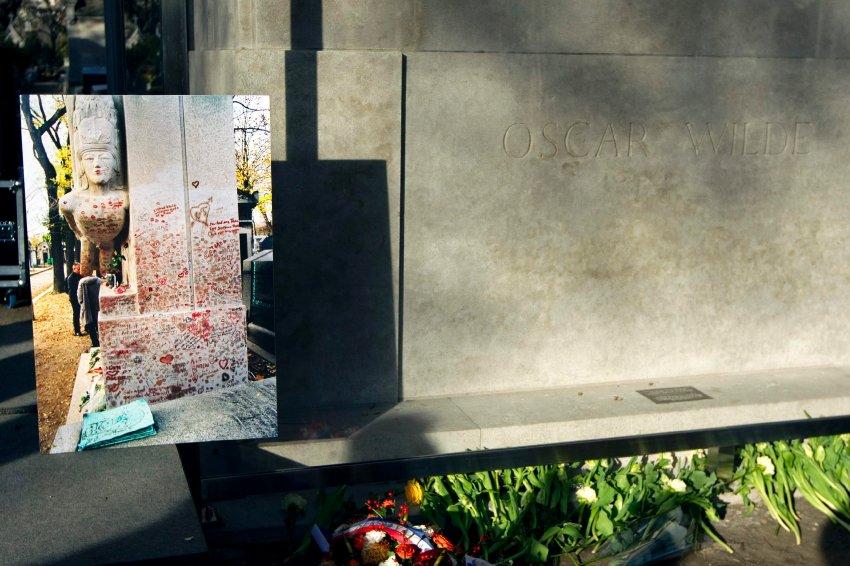 Памятная фотография, оставленных отпечатков помады на могиле Оскара Уайльда