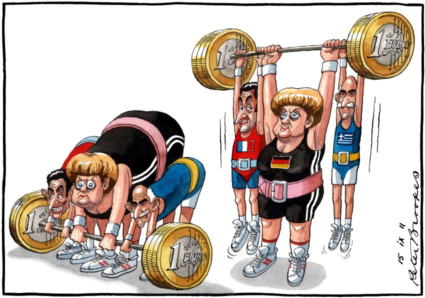 Саркози, Меркель и Папандреу - кто сильнее, карикатурист Peter Brookes