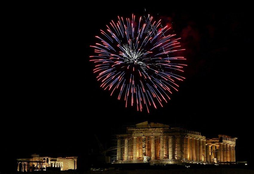 Звезды над Акрополем в Афинах