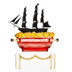 Сотейник - фрегат США, цветной хрусталь, бронза, позолота, фаянс, дерево