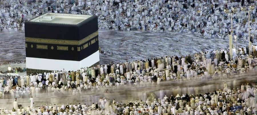 Паломники во время Хаджа в мечети аль-Масджид аль-Харам в Мекке, октябрь