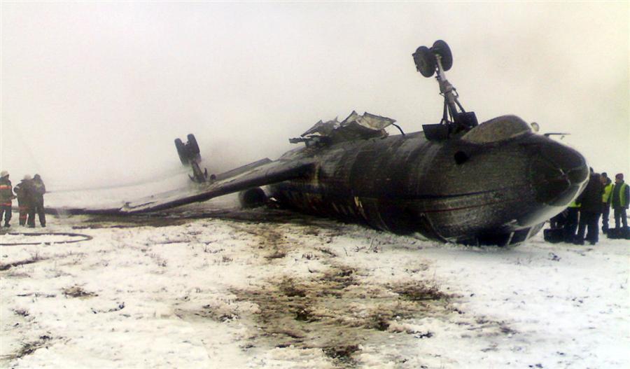 В Киргизии, 28 декабря, при посадке перевернулся и загорелся Ту-134, пострадало 6 человек