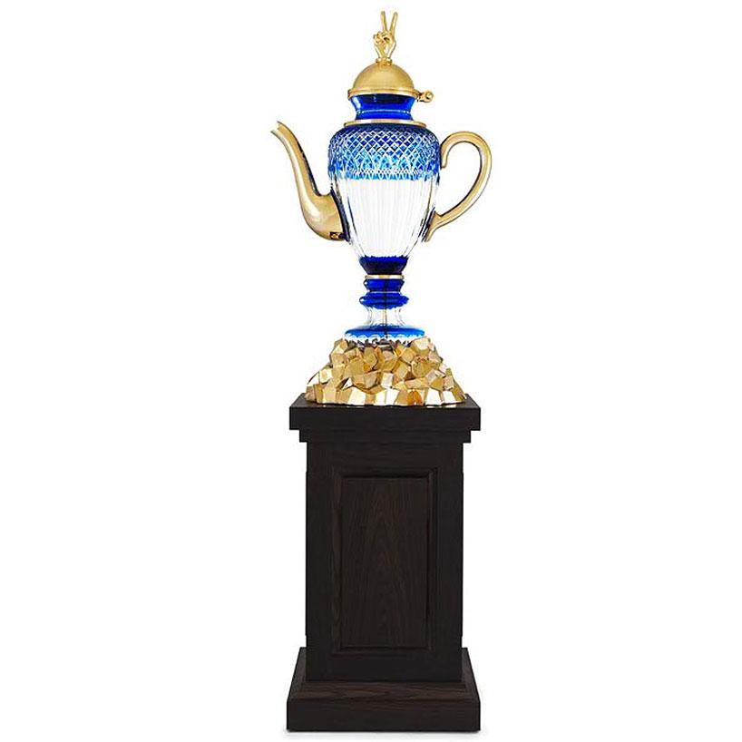 Гибридный чайник-ваза, цветной хрусталь, полированная бронза