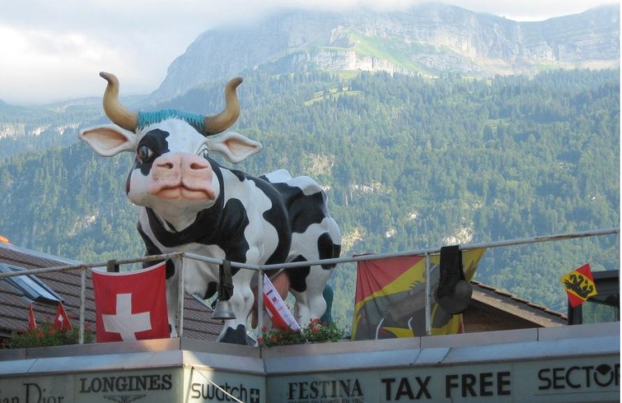 Магазин с веселой коровой в швейцарском Бриенце