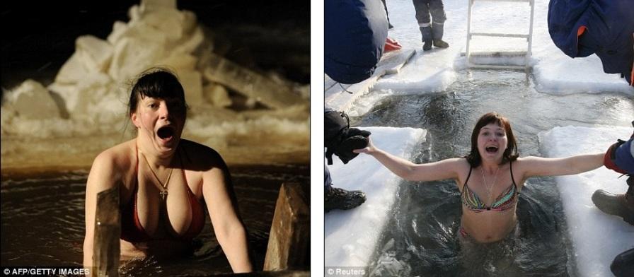 Женщины в шоке от ледяной воды в Великом Новгороде и Красноярске