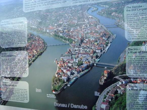 Слияние трех рек в Пассау - Инн, Ильц и Дунай