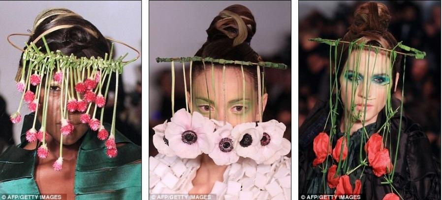 На шоу Маурицио Галанте лица моделей были скрыты за шторами красочных весенних цветов