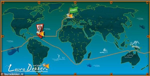 Карта на сайте Лауры Деккер показывает ее головокружительное путешествие