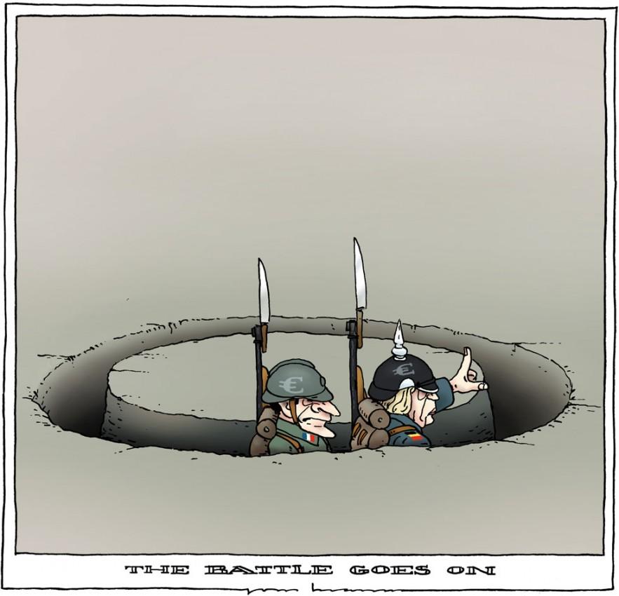 Ангела Меркель и Николя Саркози продолжают борьбу за спасение евро, которая больше напоминает хождение по кругу, карикатурист Joep Bertrams из Голландии