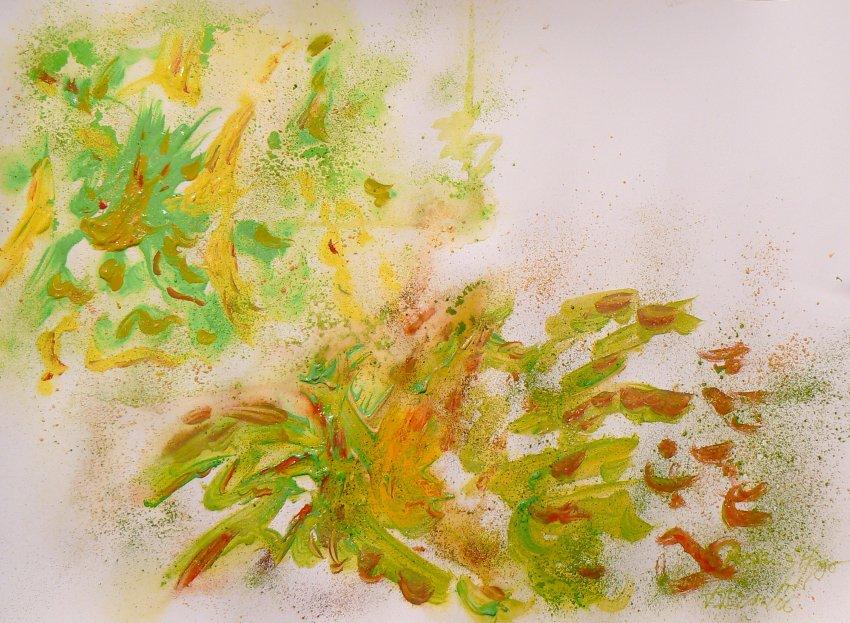Рислинг из виноградника Pfl?ger, нежное и мягкое вино (желтый и  зеленый пастельные тона),  с экзотическим ароматом с оттенком  кислотности (зеленый пигмент) и остаточной сладостью (оранжевый)