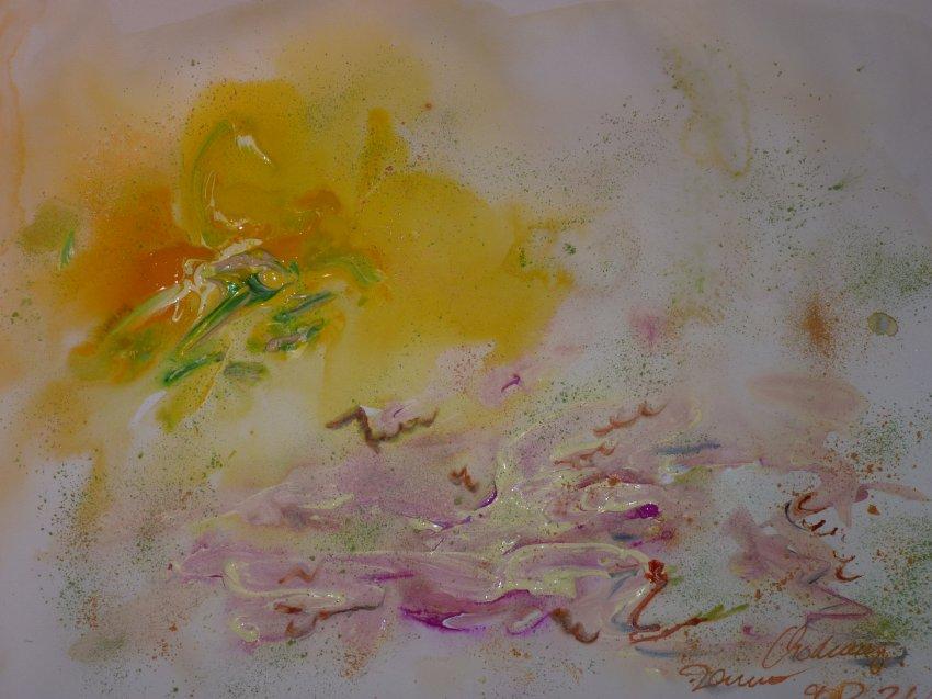 Шардоне из Южного Тироля, спелое и свежее вино (желтый, зеленый),  со сливочно сладкой экзотикой (белый),  тонкой кислотностью (зеленый  пигмент)