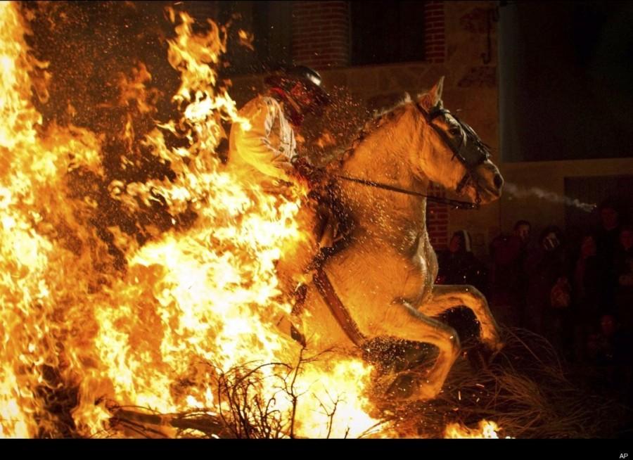 Впечатляющее действо - конь, выскакивающий из огня
