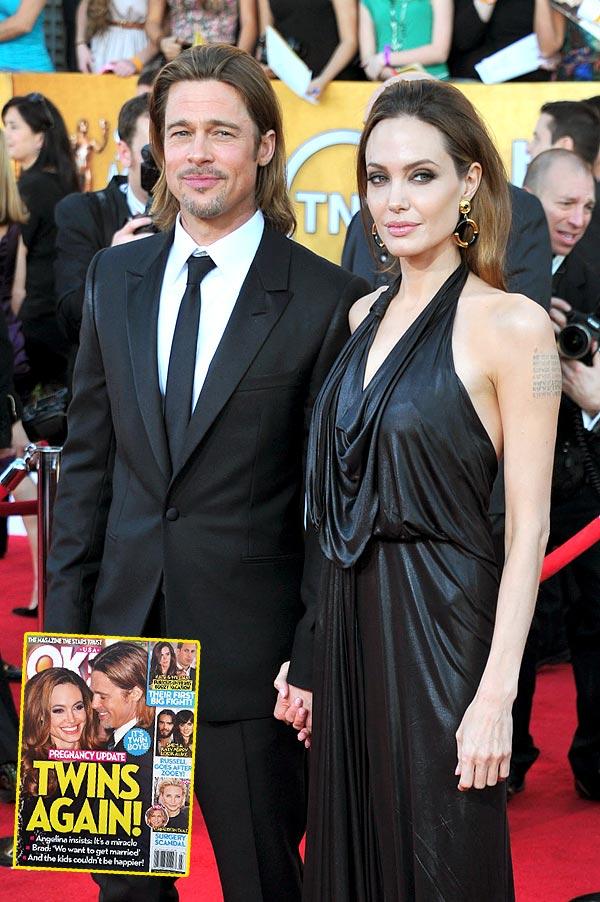Обложка журнала ОК! и звездная пара Джоли - Питт