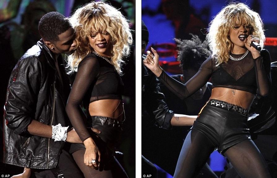 Rihanna в кожаных шортиках