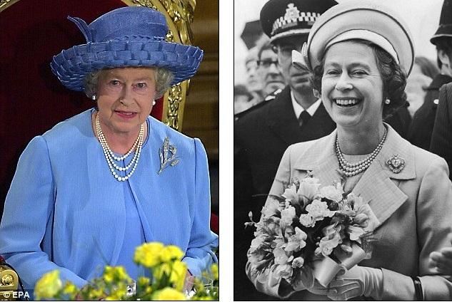 Королева во время своего Золотого Юбилея, в 2002 году, и в 1977 году на серебряном юбилее
