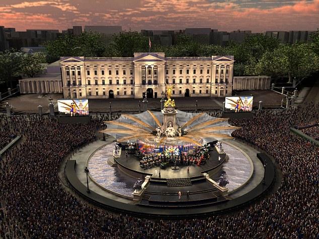 Сцена для мировых звезд вокруг мемориала, посвященного королеве Виктории