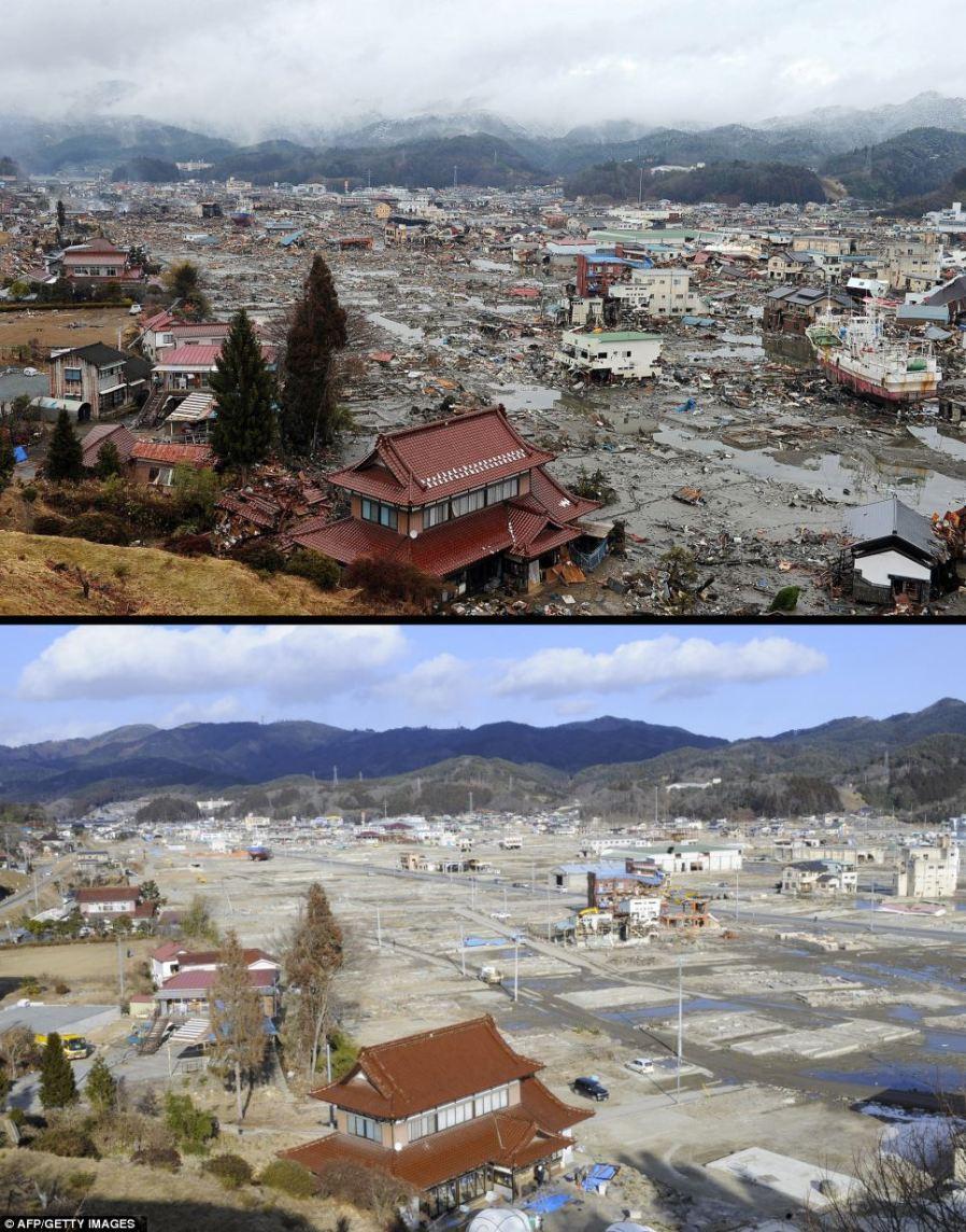 Вид с холма на город Kesennuma